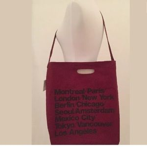 American Apparel Cabernet cities city handle tote
